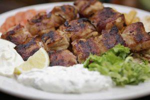chicken bacon souvlaki platter
